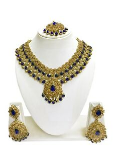 Indian Bollywood Style Gold Plated Bridal Fashion Jewelry Necklace Earrings Set