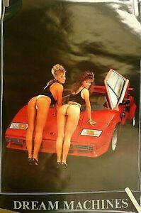 RARE FERRARI LABORGHINI 1986 HOT GIRLS G-STRINGS BUNS 1986 PIN UP POSTER