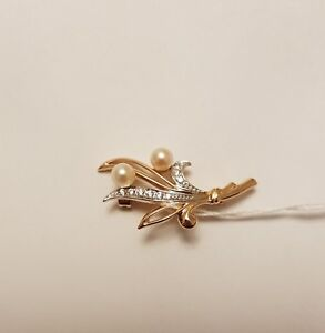 585/14ct Rose Gold Brooch with White Pearl