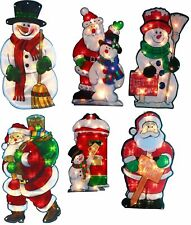 New Christmas Metallic Effect Light Up Window Silhouette Lights Mains & Battery