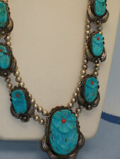 Signed Old Pawn Native American Massive Carved Turquoise Squash Blossom Necklace