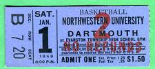 VINTAGE 1949 TICKET STUB-BASKETBALL-DARTMOUTH VS. NORTHWESTERN