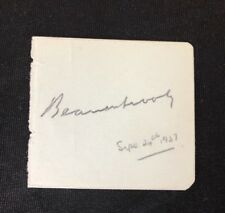 Rare Collectable Autograph Of Lord Beaverbrook Dated September 24th 1937