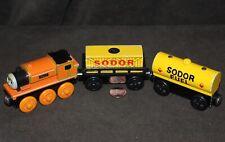3 WOODEN Thomas Train & Friends: BILLY, FUEL CAR, & Cargo Car w/ Cargo