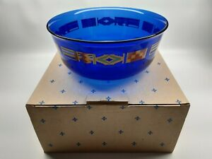 Kente inspired Table Top Collection Serving Bowl - Blue - Flag Design - Glass