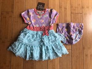 New Matilda Jane Baby Girls Short Sleeve Dress & Bloomers ~ Size 3-6 Months