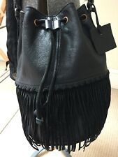 Urban Outfitters Ecote Black Leather Cross Body Bucket Bag With Fringe