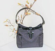 Jaeger Handbag Black Canvas with Patent Trim Medium Bag - Excellent Condition