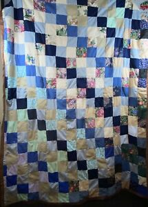 Twin 66x90 Reversible Blue Brown Patchwork Quilt Blanket