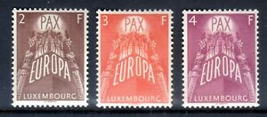 1957 LUXEMBOURG EUROPA SET OF 3 MINT HINGED