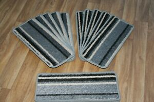 14 Striped Open Plan Carpet Stair Treads Funky Silver 027 14 Large Pads!