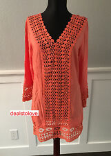 NWT Solitaire Swim Coverup Beach Swimwear dress Coral Crochet Tunic Cover Up SM