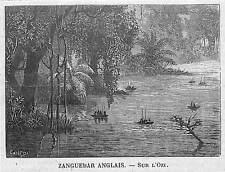 """ZANGUEBAR KENYA TANZANIA  """" SUR L' OZY """" PETITE GRAVURE SMALL ENGRAVING 1890"""