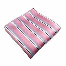 New 100% Silk Pink White Striped Handkerchief Pocket Square Hankie Wedding Gift