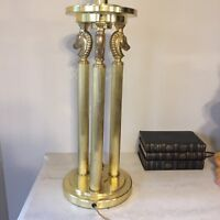 "Lamp Horse  Equestrian Polo Tall Column 3 Pillar Lamp Brass High End Polo 32"""