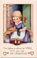 Whitney Valentine ~ LITTLE SHOESHINE GIRL IN BRAIDS~BUMBLE BEE~Vintage Postcard
