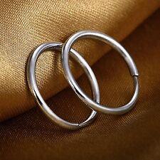 New Solid Platinum 950 Earrings Women Great 11mmW Smooth Hoop Earrings 1-1.5g