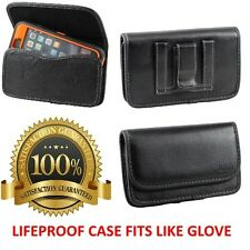 Leather Pouch Cover w/Belt Clip & Loop Holster To Hold Lifeproof Fre Nuud Case