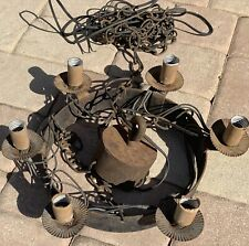 Hanging Gothic chandelier swag antique Medieval chain link Spanish Revival metal