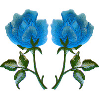 Pair of Blue Rose Patches Iron On Sew On Clothes Embroidered Flower Patch Badge