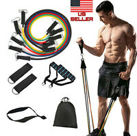 11PCS Resistance Bands Set Pull Up Rope Gym Fitness Workout Crossfit Yoga Tubes