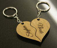 Personalised Valentines Love Gift - Split / Joining Heart Keyrings - Laser Cut