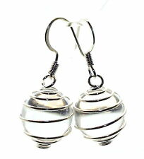 Clear Quartz Sphere Ball in Spiral Cages Earrings