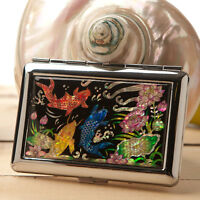 Mother of Pearl Fish Metal Cigarette Tobacco Holder Credit Card Case Box Wallet
