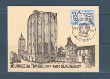 carte 1er jour  journée du timbre   45  Beaugency   1977