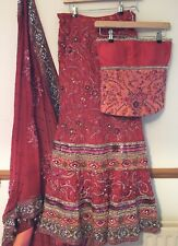 Burgundy Embrodied Lengha, Corset Top and Dupatta Size 8