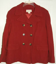 Michael Kors Red Wool Double Breasted Peacoat Pea Coat Women's XL