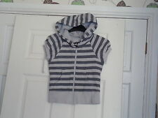 TOPSHOP HOODED TOP SIZE 6 PETITE GREY STRIPES