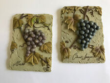 3D Ceramic Kitchen Fruit Wine Wall Hang Signs Plaques Decorations Lot of 2