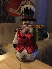 Retired Christopher Radko Winterland Gent Snowman With Present Ornament 1017787