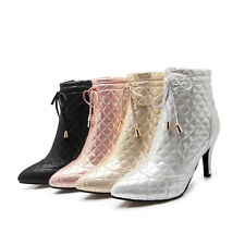 Ladies Party Shoes Synthetic Leather High Heels Zip Up Ankle Boots US Size b145