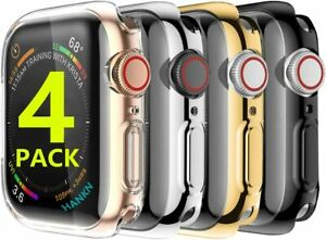 4 Pack Screen Protector Case Cover for Apple Watch 38 42 40 44mm Series 5 4 3 2