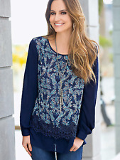 Together Size 14 Navy Lace Trim Tunic Autumn Print TOP Stylish Day 2 Evening