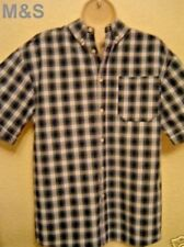 "BOYS CHECKED FROM M&S 15"" BUTTONED COLLAR SHORT SLEEVE SHIRT - 100% COTTON BNWOT"