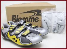 NOS BIEMME ROAD CYCLING SHOES EU 41 LOOK + TIME CLEATS' ADAPTER YELLOW GREY