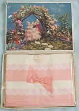 Pair of IRISH Cotton PINK & WHITE Floral Trim PILLOW CASES - New Old Shop Stock