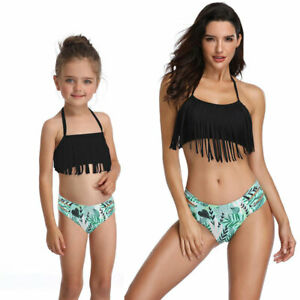 Bikini Summer Mother and Daughter Parent Swimwear Tassel Clothes Family Swimsuit