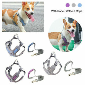 Puppy Dog Reflective Adjustable Harness Pet Vest Leads With Handle Small Medium
