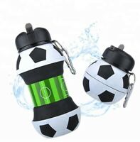 Novelty Water Bottle Collapsible Soccer Ball Leak Proof Silicone BPA Free  550ml