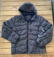 Nautica Men's long sleeve zip Up hooded down filled coat Size L In blue