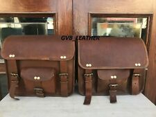 Real Bull Hide Leather Motorcycle Saddle Bag Two Leather Side Pouch Panniers