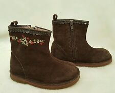 LN BABY GAP Girls Brown Suede Leather Ankle Boots 7 Treehouse Toddler Dress Shoe
