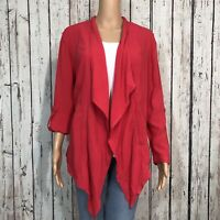 Chico's Drape Waterfall Open Front Topper Jacket 1 MEDIUM 8 Roll Sleeve Pockets