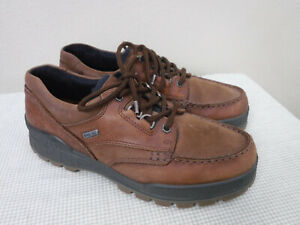 Men's ECCO TRACK GORE-TEX 7 7.5 41 Brown Leather Lace Up Moccasin Oxfords Shoes