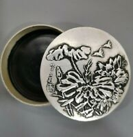 Collect tibet Silver copper carved flower round Brush cartridge ink case box