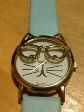Vintage Cat with Glasses Ladies watch, running with new battery A